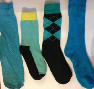 teal and turquoise socks
