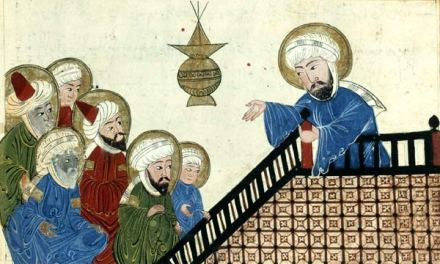 Muhammed giving a sermon, Medieval manuscript