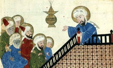 Muhammed giving a sermon, Medieval manuscript