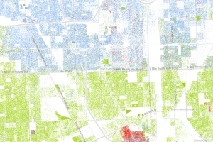 Detroit in green, Oakland County in blue