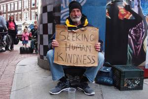 seeking human kindness -- homeless man