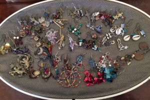 Some of my earrings, on a holder created by my daughters 20+ years ago