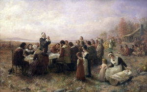 Painting of the first Puritan Thanksgiving by Jennie Augusta Brownscombe (1914) wikipedia.org