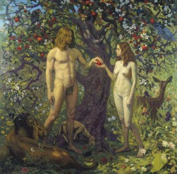 Adam and Eve in Eden naked